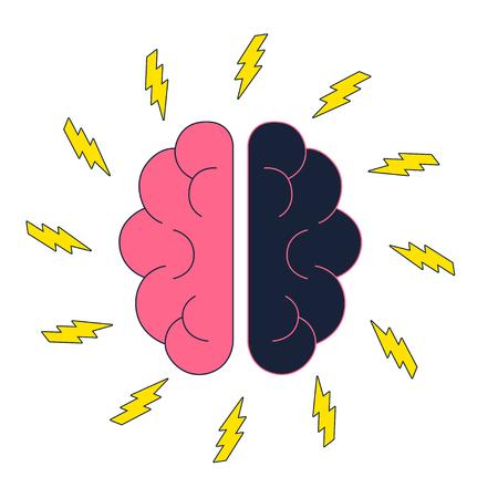Brain with electric thunderbolt flash. Brainstorm vector
