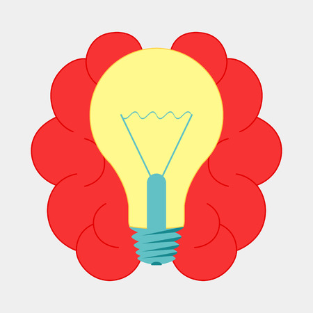 Brain with lightbulb idea. Brainstorm icon design vector