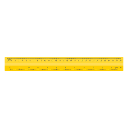 Color yellow measuring ruler, 30 centimeters and 12 inch, stationery vector