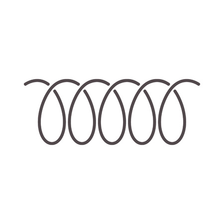 Spiral spring icon of swirl line or curved wire cord pattern vector design Çizim