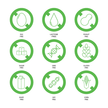 Food labels of free allergens and GMO added products set vector Vetores