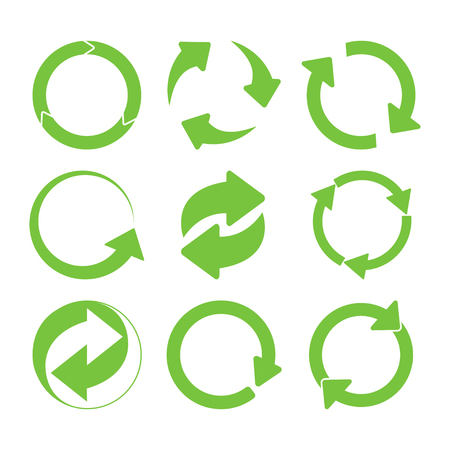 Grünes rundes Recycling singt Set. Vektor-Illustration
