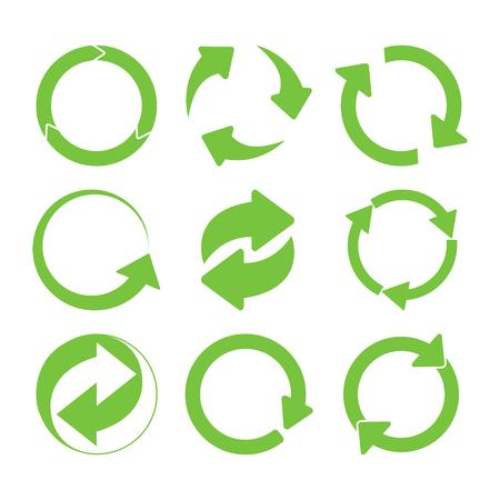 Groene ronde recycle zingt set. vector illustratie
