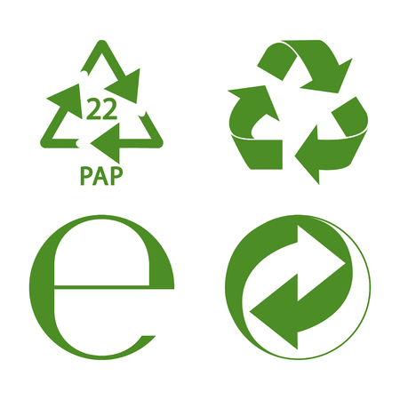 Green recycle and packaging sign set vector illustration Çizim