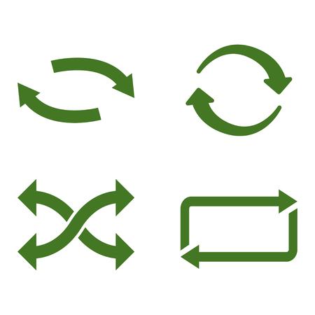 Green recycle arrow set vector icon design sings