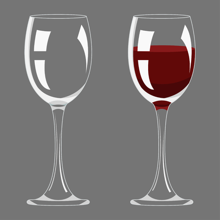Transparency empty and full wine glass design vector illustration