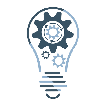 Light bulb idea with spinning gears inside icon. Business concept design