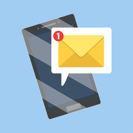 Sms and email notification on smartphone.  Message reminder mailing on mobile phone