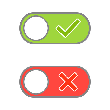 Toggle button switch off or turn on slider with green tick hook and red cross signs