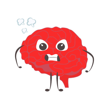Brain characters angry nervous making sport exercises and different activities vector