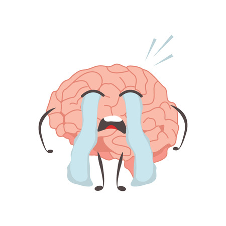 Brain characters cry making sport exercises and different activities design vector