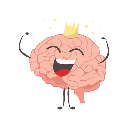 Brain characters king winner making sport exercises and different activities vector Çizim