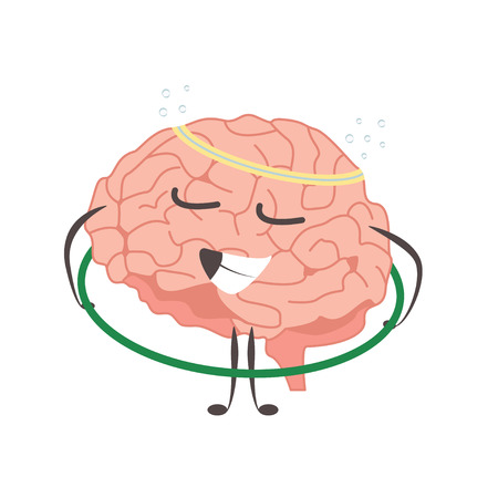Brain charactersathlete gymnast making sport exercises and different activities vector Çizim