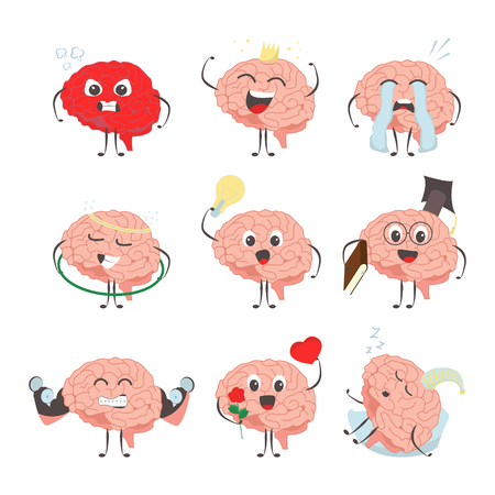 Brain characters making sport exercises and different activities design vector