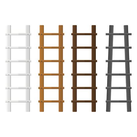 Wooden stairs set. White, brown ladders. Different color for interior and construction design vector