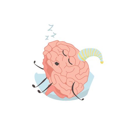 Brain characters sleeps resting exercises and different activities vector