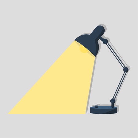 Table office retro desktop lamp lighting. Bright business ideas vector Çizim