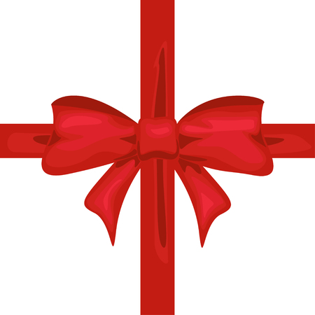 Red ribbon with bow. Tape decor for present design vector