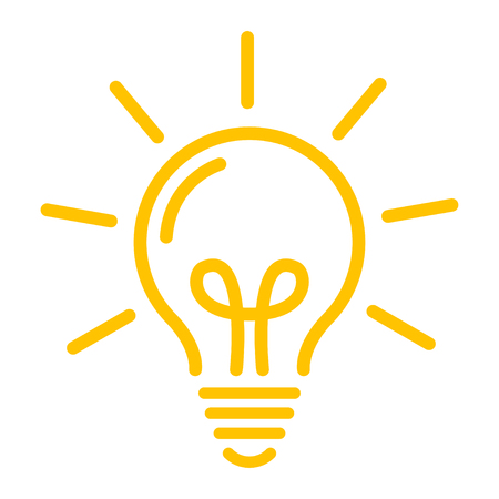 Idea symbol. Yellow bulb icon vector design Banque d'images - 124933792
