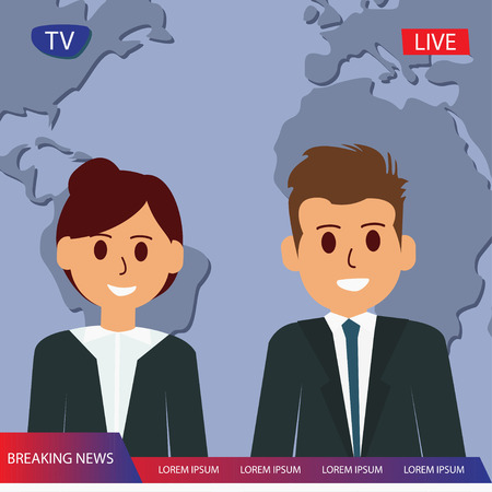 Television breaking news with couple reporter tv, broadcast headline news vector Çizim