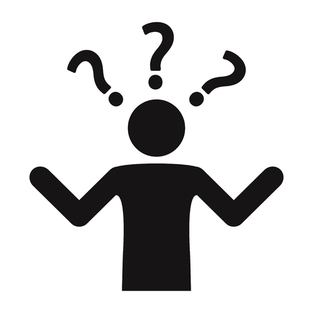 Perplexity icon. A lot of questions. Confusion. Making decisions