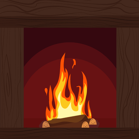 Fireplaces wooden and stone decoration design vector illustration Stock Vector - 124418953