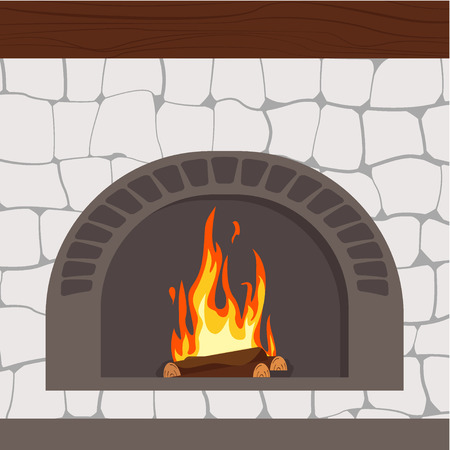 Fireplaces wooden and stone decoration design vector illustration Illustration