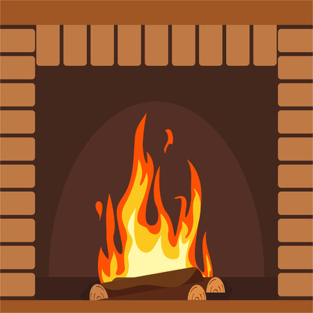 Fireplaces wooden and stone decoration design vector illustration Stock Vector - 124418955