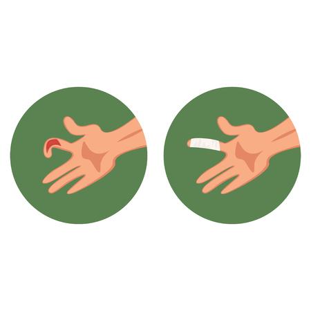 Coupe ouverte déchirée, doigt meurtri et vecteur de pansement médical