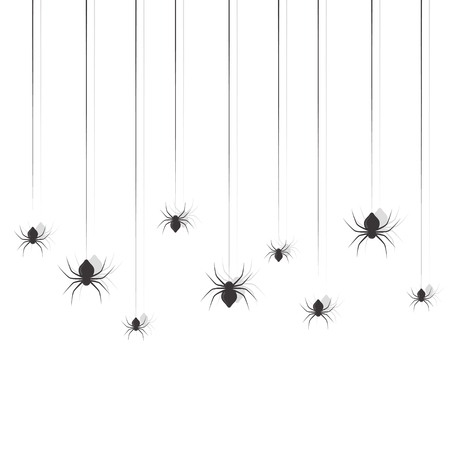 Hanging spiders. Halloween sing design vector set