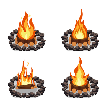 Bonfires set, burning woodpile and round of stones, campfire or fireplace on firewood Vektoros illusztráció