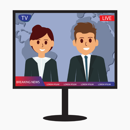 Television breaking news vector design icon illustration Illustration
