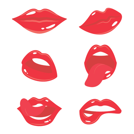 Sexy woman lips with tongue set. Girls mouth with red Иллюстрация