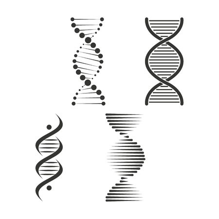 DNA icon set. Chromosome strand symbol vector Çizim