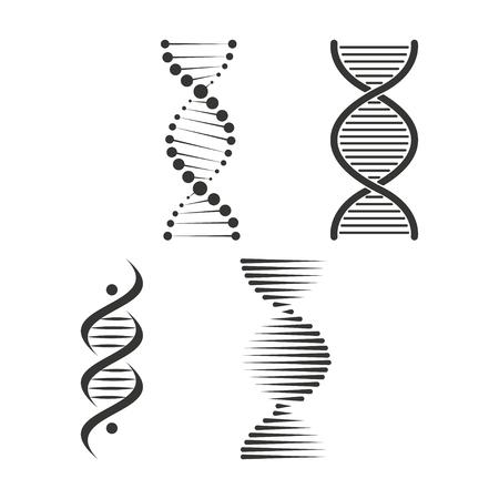 DNA icon set. Chromosome strand symbol vector Illustration