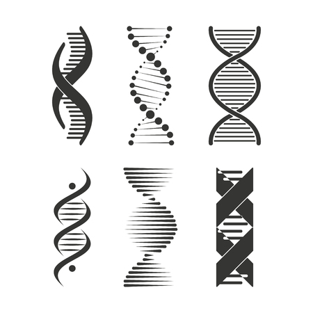 DNA icon. Chromosome strand symbol set design Çizim