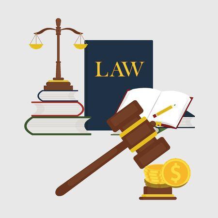 Bücher von Gesetzen, Skalen Gerechtigkeit Design Vektor