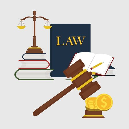 Books of laws, scales Justice design vector Иллюстрация