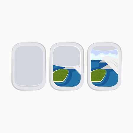 airplane window porthole stock vector illustration isolated on white background Çizim