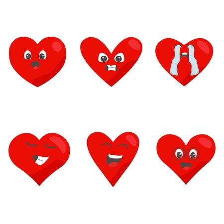Rote Herzen-Icon-Set. Liebessymbol. Lustige Emoticon-Konzept-Zeichentrickfiguren
