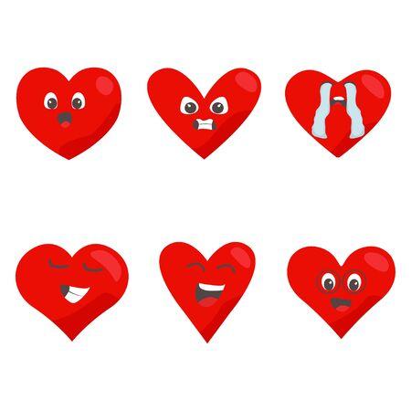 Red hearts icon set. Love symbol. Funny emoticon concept cartoon characters