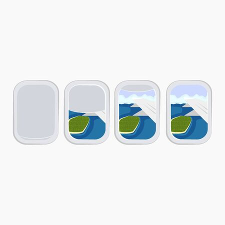 Airplane window porthole stock. Summer travels design banners. White window aircraft