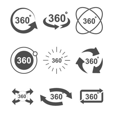 Angle 360 degrees sign icon set design illustration