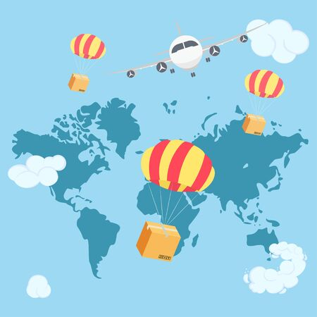 Packaging box flying on parachute from airplane in blue sky with clouds. Stock Illustratie