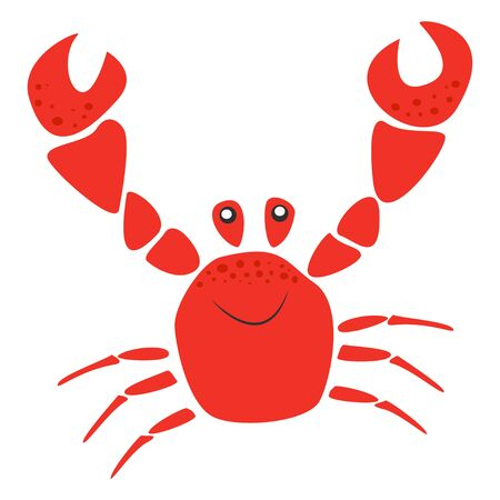 Smiling red crab with raised claws, sea animal Çizim