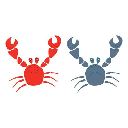 Red and blue funny smiling and cry cartoon crabs characters with raised claws isolated Stok Fotoğraf - 131987182