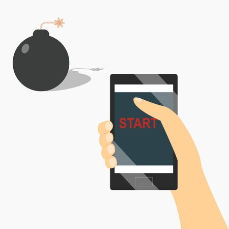 start a bomb from the phone design 向量圖像