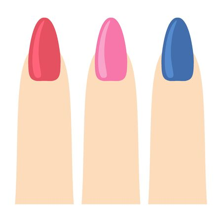 Manicure icon. Pink nail set design vector