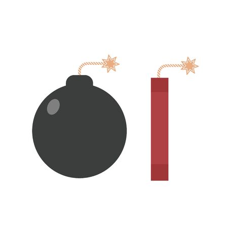 Bomb with fire icon set design vector