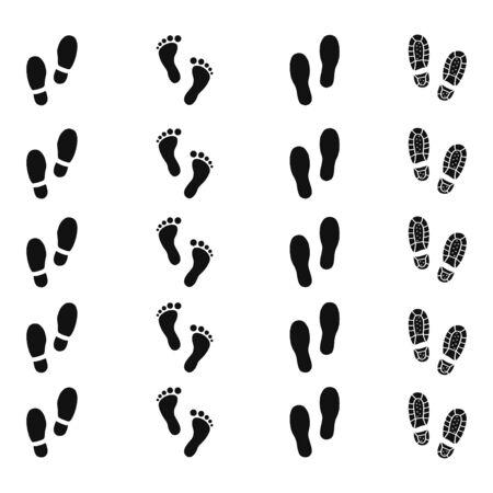 Human footprints of shoes trail set design